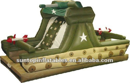 hot colorful large outdoor exciting army theme inflatable slide for sales