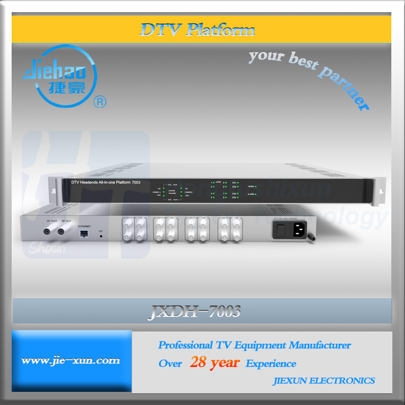 Digital cable tv system Low cost headend with 8 ASI in Mux and 8 Scrambler and 8 QAM RF output