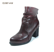Italian fashion chunky style winter genuine leather ankle boots for women 2014 guangzhou China