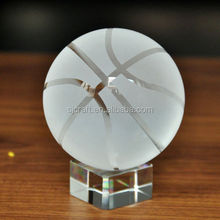 Basketball with short base crystal ball 60-80 mm clear ball home decoration beautiful basketball glass ball