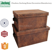 Antique color set of 3 leather gift storage box with cover