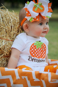 Wholesale baby girls Halloween pumpkin romper high quality orange chevron infant bodysuit rompers with headband