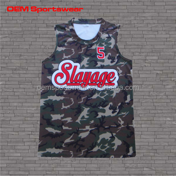 Digital sublimation printing camo jersey basketball uniform