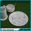 Natural white round polished marble plate