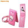 KUH D10 Flip GPRS Breath Light touch screen Cell Phone women girl MP3 MP4 cartoon hello kitty mobile phone Dual SIM Card