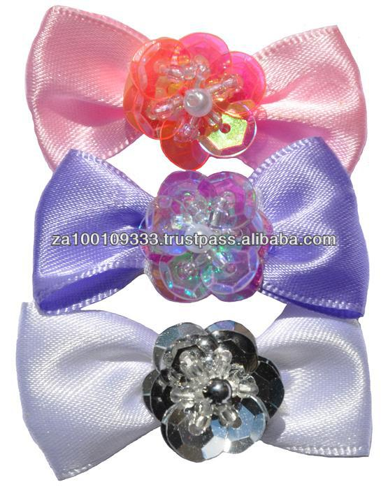 Satin with Sequin Hair Bows for dogs - 100 pcs canister