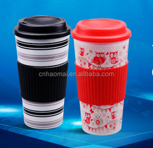 450Ml Plastic double wall takeaway coffee cup with silicion sleeve