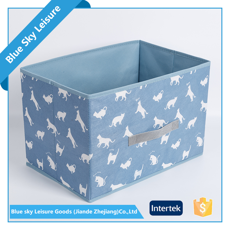 Portable Small PP Non Woven Pattern Embossing Fabric Storage Box Foldable