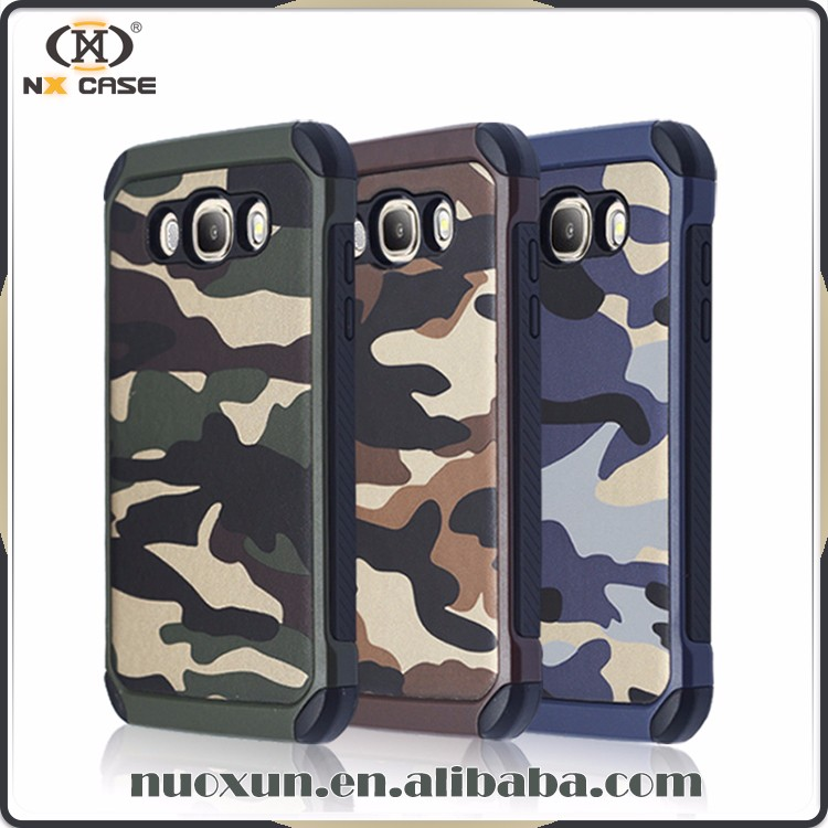 Camouflage style leather case for samsung galaxy j7