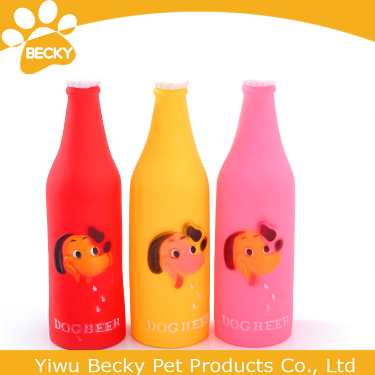 Wholesale Soft Pet Toys Plastic Squeeze Beer Bottle For Dog