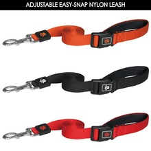 Comfortable neoprene Handle Adjustable dog leash snap hook Large Black