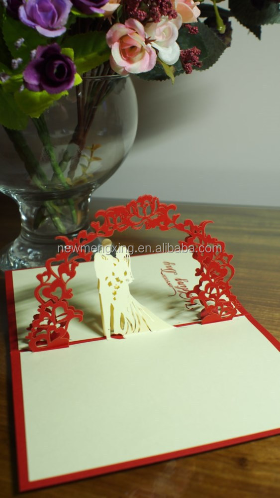 2015 Unique romantic pop up bidge shaped style wedding invitation card