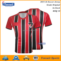 Wholesale customized football sportswear, hot sale 100% polyester in stock soccer jerseys