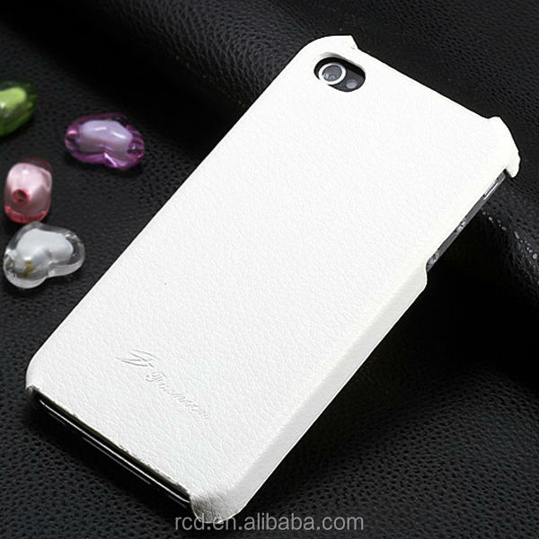 Top Quality Lychee Skin Back Hard Cover Genuine Leather Case for IPhone 4 4S HLC0018