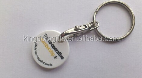 The Co operative Shopping Trolley Token, 1 euro printing plastic trolly car token keyring