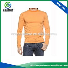 Orange color long sleeve mens slim fit cut sports compression t shirts