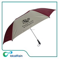 27inch double layer air vented promotional custom 2 fold umbrella
