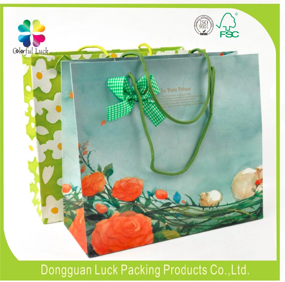 Custom made large size paper bag shopping bag with handle paper carrier bag