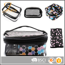 New promotion useful women makeup PU leather cosmetic bag set