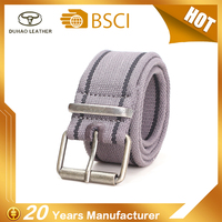 New Design Durable Causal Cotton Fabric Belt With Brass Roller Buckle
