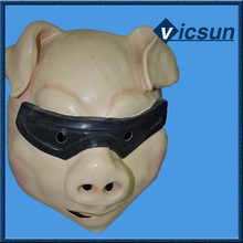 halloween ball party animal pig latex full face mask with dark glasses