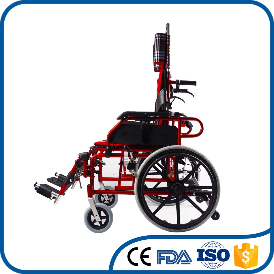 Best selling aluminum reclining handicapped wheelchair