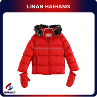 2014 hot sale fashion girls fur hooded gloves winter coat girl 6 years