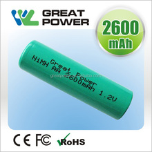 high power aa2600mah 1.2v r6 ready to use nimh rechargeable battery