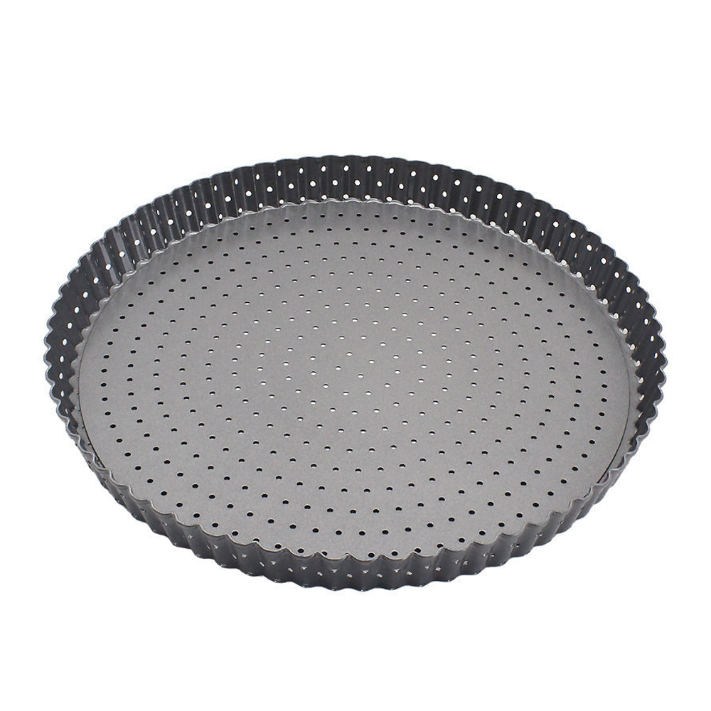 Round Non-stick Coating Perforated Carbon Steel Pizza Pia Pan