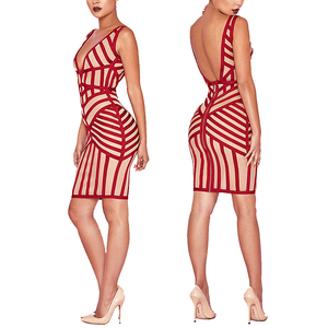 Red White Striped Sleeveless V Collar Backless Sexy Dress Women