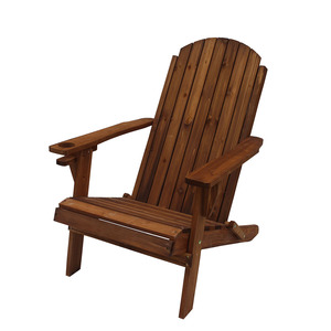 Solid Wood Folding Wood Adirondack Chair With Cup Holder