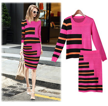 S31264A American famous brand sport women's suits autumn knitted sweater and long skirt casual suits