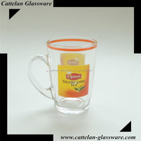 High quality glassware with Lipton Yellow Label for glass coffee mug, Promotion Good Option