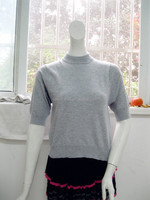 Women short-sleeve knitted polyester sweater thin pullover