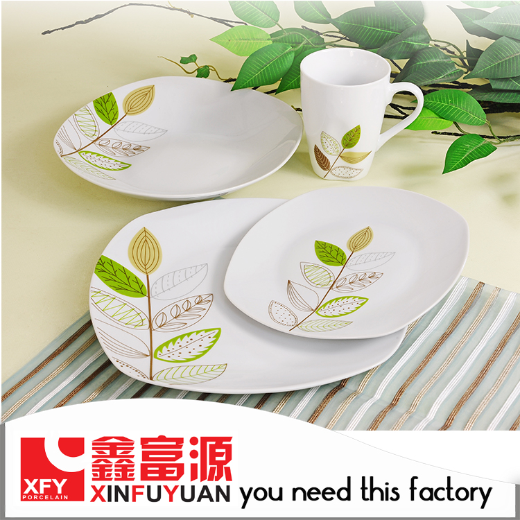 16 pcs/4 people white porcelain dinner set, cheap ceramic dinnerware wholesale