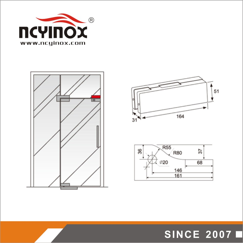 High quality factory supply glass door patch fitting