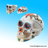 WHITE COLORFUL DECORATED TATTOO DAY OF THE DEAD SUGAR SKULL ASHTRAY STATUE