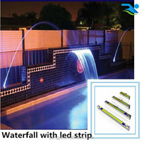 Swimming pool water jet blade/pond decorative waterfall with remote control LED strip