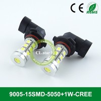 Hot selling car fog lamp price 9005-15smd led bulb lamp 9005 5050+1w high lumen led auto lights