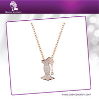 New Design Wedding Style Rose Gold Plated CZ Paved Pendant Necklace Fashion Jewelry
