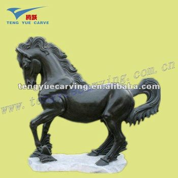 black marble horse carving sculpture