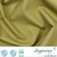 Beige stereo litchi grain PU leather for sofa slipcovers