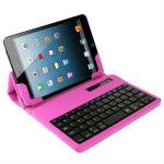 High Quality Bluetooth 3.0 Wireless Keyboard + Leather Case with Holder for iPad mini