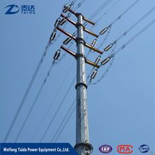 Aibaba 220kv Double Circuit Steel Power Pole for Electric Transmission