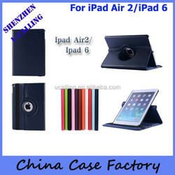 The Best Selling 360 rotation PU Leather Case For iPad air 2/iPad 6