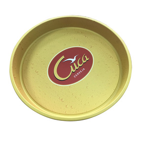 custom stackable round metal tray antislip bar serving tin trays