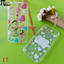 Fashion tpu transparent phone case with custom printing and epoxy embossed logo