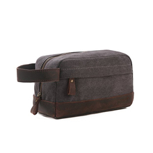 Custom Men Travel Toiletry Bag Waxed Canvas Leather bag