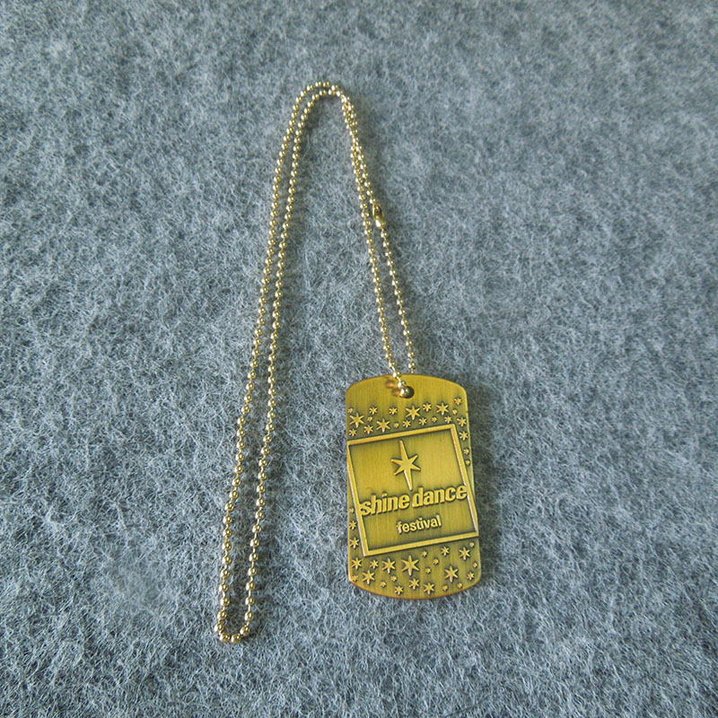 high quality voal shape design antique brass plate metal dog tag for person