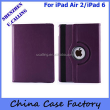 For New Apple iPad Air 2 PU Rotate Leather Case With 10 Colors